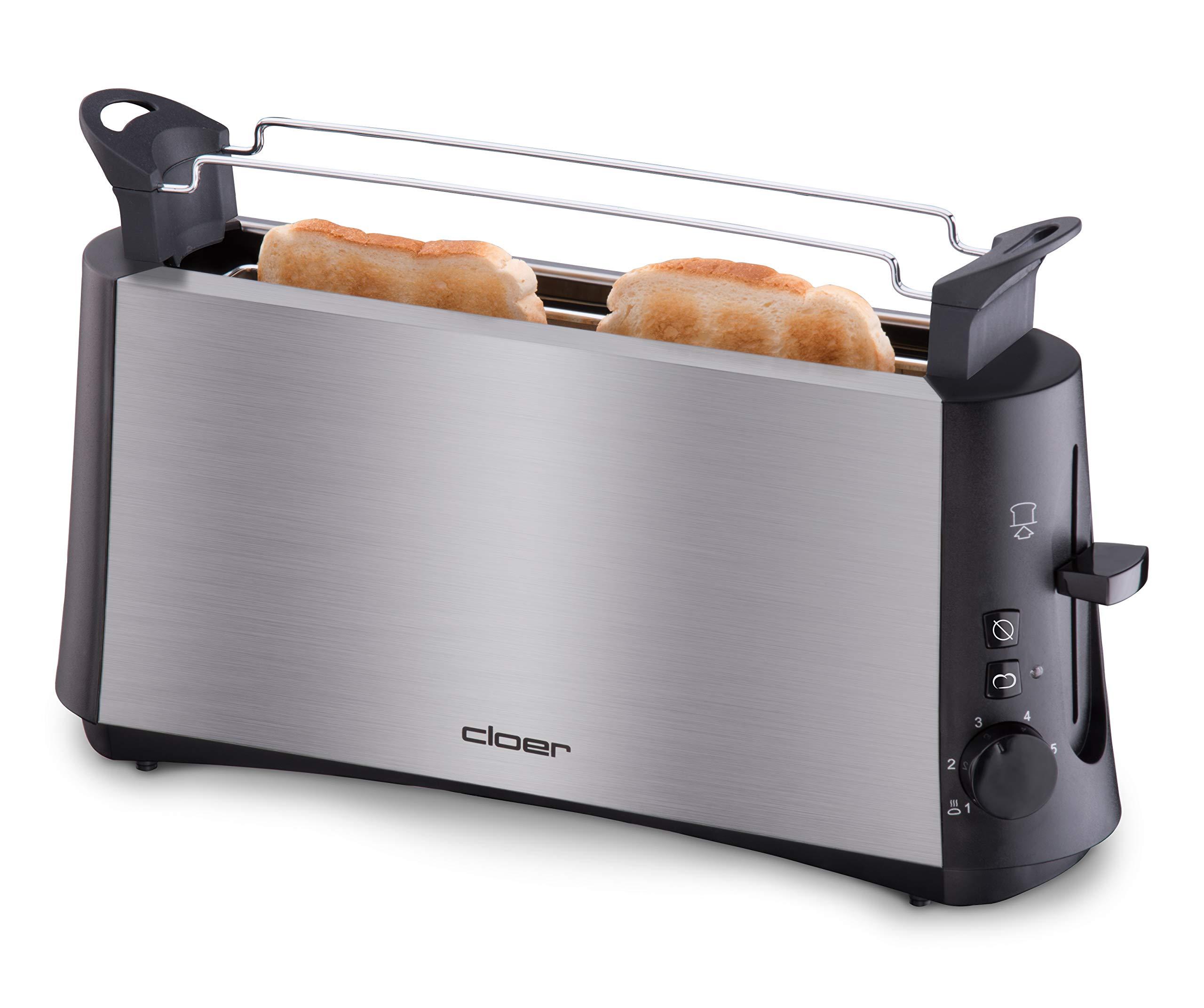 Cloer-3810-Langschlitztoaster-fr-2-Toastscheiben-880-W-StiWa-gut-Graubrot-Funktion-fr-verschiedene-Brotsorten-Brtchenaufsatz-Nachhebevorrichtung-mattiertes-wrmeisoliertes-Edelstahlgehuse