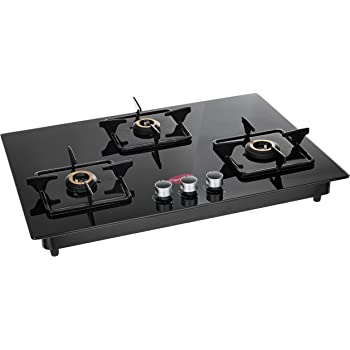 Pigeon Hobtop Stainless Steel 3 Burner Gas Stove, Black