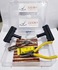 Leebo Complete Tubeless Tyre Puncture Repair Kit with Box (Nose Pliers + Cutter + Rubber Cement + Extra Strips) For Car & Motorcycle