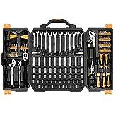 DEKO 192 pièces Ensemble de clés à douille de mécanicien,Boîte à outils de réparation automatique de trousse à outils réglée avec la caisse de rangement en plastique