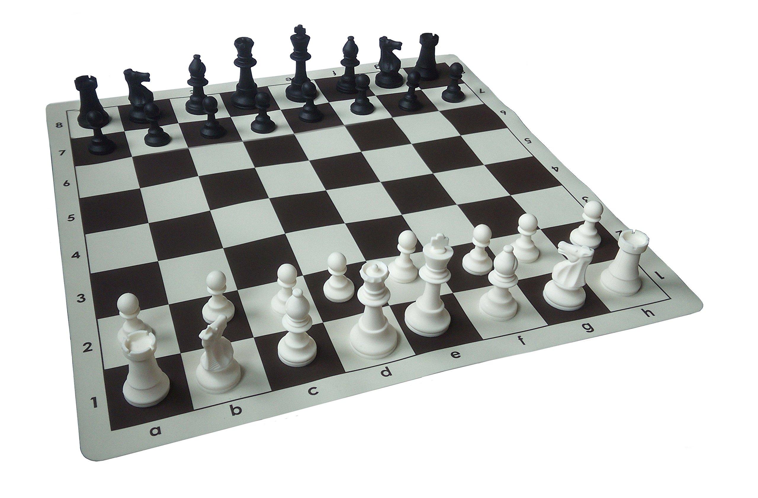 SchachQueen-Schachset-komplettes-Schachspiel-Silikon-mit-Schachbrett-und-Schachfiguren-Feldgre-57-mm-braunbeige-Knigshhe-90-mm-schwarzwei SchachQueen – Schachset – komplettes Schachspiel Silikon mit Schachbrett und Schachfiguren Feldgröße 57 mm (braun/beige) Königshöhe 90 mm (schwarz/weiß) -