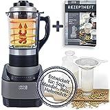 Levenslang Amandelmelkbereider, keukenmachine met kookfunctie, blender, glas, 1,75 l, plantenmelk, bereider, keukenmixer, gla