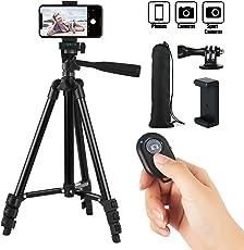 Hitchy handy stativ, kamera stativ 42 Zoll 106cm Aluminium-Leichtbau Smartphone Stativ für iPhone/Samsung/Huawei, GoPro und Kamera mit Bluetooth-Fernbedienung, Tragetasche und GoPro-Halterung (Schwarz)