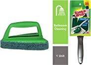Scotch-Brite Bathroom Brush with Abrasive Fibre Web (Green) & Plastic Kitchen Sink Brush (Silver) Combo