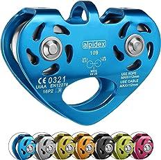 ALPIDEX Seilrolle Umlenkrolle Tandem Pulley - geeignet für Stahlseile 8-12 mm Ø und Textilseile bis 13 mm Ø