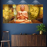 SND Art Set of 3 Abstract Decorative LORD BUDDHA Modern Art Home Decor Gift Item 6 mm MDF Framed Wall Paintings For…