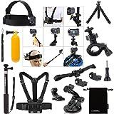 Luxebell® Zubehör Kit für Sony Action Cam HDR-AS15 / AS20 / AS30V / AS100V / AS200V / Sony Action Cam HDR-AZ1 Mini Sony FDR-X1000V / W 4K-Kameras, Helm Schlaufenhalterung + Handheld Monopod ausdehnbarer Teleskop Pole + Brustgurt Berg + Floating-Handgriff-Griff + Fahrrad-Lenkstange-Einfassungs-Halter + Car Saugnapf + Flexible Stativ + Aufbewahrungstasche