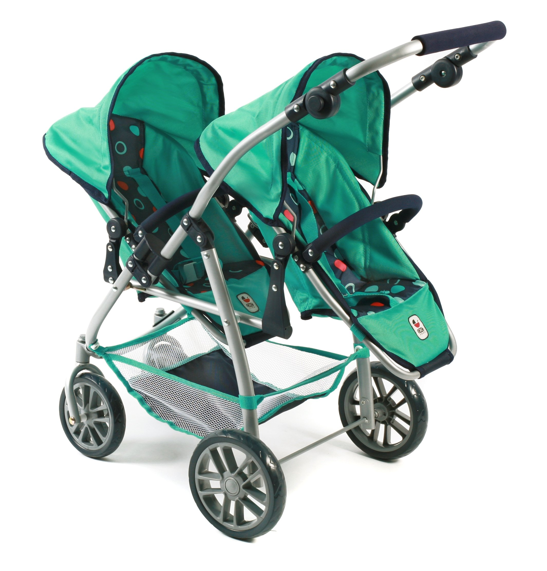 Bayer Chic 2000 689 21 Doll pram, Mint Bayer Chic Modern twin pushchairs with two removable and to be in a lying position adjustable Sport seating The seat of your Twin trolley are detachable and can be in multiple directions he tandem Buggy has a height-adjustable slider from 55 - 33 cm 1