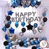 Party Propz Happy Birthday Decoration Kit 44Pcs Set for Husband Kids Boys Decorations Items Combo with Helium Letters…