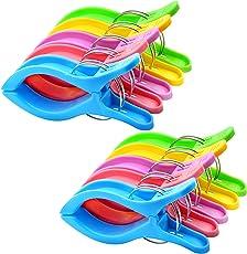 10PCS Jumbo Größe Strandtuch Clips, IPOW Wäscheklammern Kunststoff Clips Qulit Handtuch Klammer für Strand Pool tägliche Wäsche, schwere Badetuch etc.