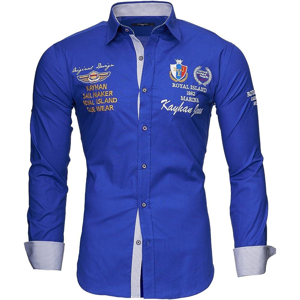 Kayhan,originale camicia per uomo,maniche lunghe,97% cotone, 3% elastan A-Monaco-000001