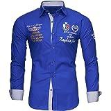 Kayhan Camisas Hombres Camisa Hombre Manga Larga Ropa Camisas de Vestir Slim fácil de Hierro Fit S M L XL XXL-6X - Modello Mo