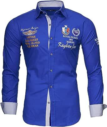 Kayhan Originale Uomo Camicia Slim Fit Facile Stiro Cotone Maniche Lungo S M L XL XXL 2XL -Modello Monaco
