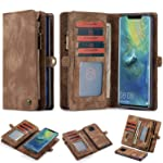 Huawei Mate 20 Pro 2 in 1 zipper wallet phone holder cover credit card slot detachable magnetic hard shell, PU leather...