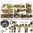 AIEX 220 stuks geassorteerde beeldhangers kit frame hangende haken hardware met haken, nagels, hangende draad, zaagtand, D-ri