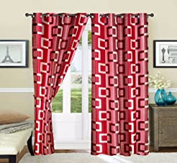 RED HOT Polyester Window Curtain (AT-CURPATCH02_006_W, Red) - Set of 2