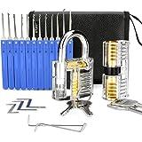IPSXP Juego De Ganzuas, 26 Piezas Incluir 2 Cerraduras Transparente de Capacitación en Bolsa de Cuero Portátil, Lock Pick Set