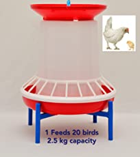 Praish Plastic Chicken Feeder with Feed-Adjustment Mechanism for Feed-Wastage and to gain Good Feed Conversion, 2.5 kg-Feeder (CET-5, Transparent)