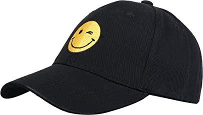 Zacharias Women's Cotton Baseball Adjustable Printed Smiley Cap Black