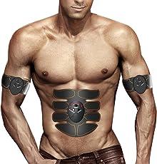 Elektrostimulation,MUSCLE TONER ABS STIMULATOR Tragbarer Muskeltrainer mit Rhythmus- und Soft-Impuls - 6 Modi und 10 Stufen mit einfacher Bedienung - Ultimativer Abs Stimulator für Männer Frauen