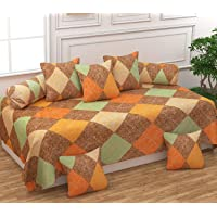 FESTIVAL HOME FURNISHINGS Polycotton 400TC Diwan Set (60X90 Inch Bedsheet 16x16inch Cushion Covers 18x28 inch Bolster Covers)