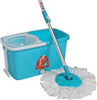 Gala Popular Spin mop with Easy Wheels and Bucket for Magic 360 Degree Cleaning (Sky Blue)