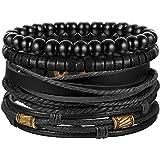 Finrezio Bracelet Cuir Tressé Bracelet Perle de Bois pour Homme Femme Vintage Cuir Véritable Noir Brun