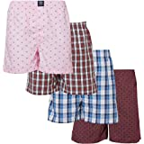 Badger Smith Men's, 5 - Pack 100% Cotton Print and Plaid Multicolor Boxer Shorts