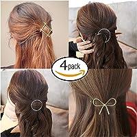 FOK Women's Non Precious Metal Minimalist Moon Circle Infinity Design Hair Clip Pin (Multicolour)- Set of 4 Pieces
