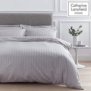 135x200cm Catherine Lansfield So Soft Stripe Set Copripiumino 2 unit/à Grey