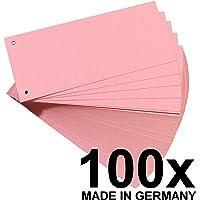Original Falken 100er Pack Premium Karton-Trennstreifen. Made in Germany. 10,5 x 24 cm rot Trennlaschen Trennblätter Ordner Register Blauer Engel