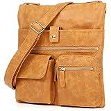 ekavale Umhängetasche aus weichem Leder-Imitat Damen Schultertasche Flache Form viele fächern Tasche für Frauen