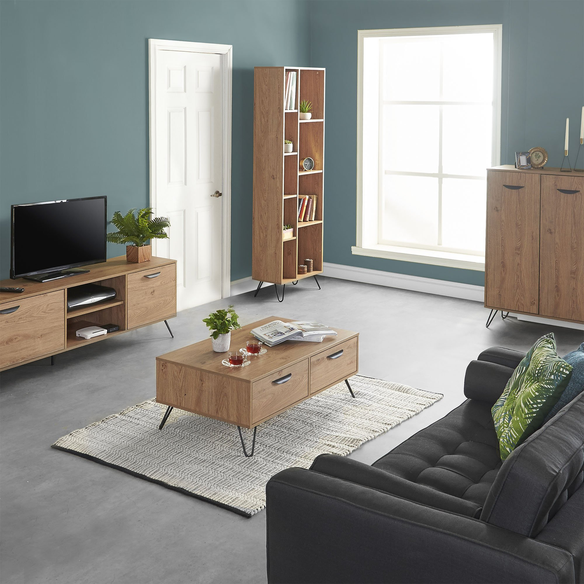 vonhaus capri coffee table with 2 soft close drawers oak effect