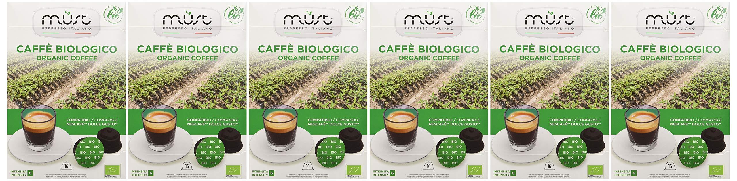 Must Espresso Italiano 96 Capsule Compatibili Dolce Gusto Caffè Bio - 6 confezioni da 16 capsule 2 spesavip
