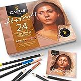 Castle Arts, set di 24 matite colorate, colori perfetti per 'Ritratto'. Set di matite da disegno, schizzi, matite da disegno.