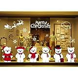 GBQ_Future Feliz Navidad Poco Lindo Oso Blanco Pegatina Copo de Nieve Alce Decoración de Navidad Impermeable Calcomanía Extra