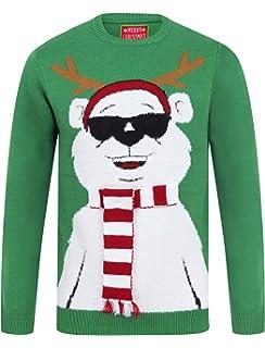 Adults Seasons Greeting Skiing Santa Light Up Christmas Jumper