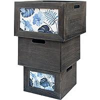 Rebecca Mobili Set 3 Boîtes de Rangement Bois Panier Gris Blanc Bleu Style Vintage Salon Cuisine (Cod. RE6135)