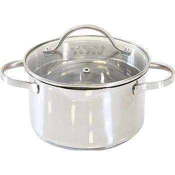 axentia Kochtopf Pado mit Deckel aus Glas, Küchen-Geschirr aus Edelstahl, Induktionstopf für alle Herdarten, Ø ca. 16 cm, Volumen: ca. 1,5 l