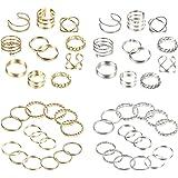 YADOCA 52 Stück Knuckle Ringe Set für Damen Mädchen Mode Finger Stapelbar Ringe Joint Nagel Vintage Midi Ring Silber Gold Böh