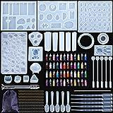 MOOING Kit de Moules et Outils de Coulée de Résine,Moule de Bricolage de Silicone,Silicone Moule pour Bijoux en Époxy Résine,