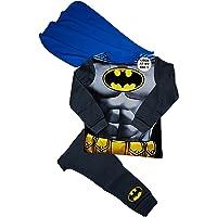 Marvel - Pigiama da bambino, motivo Batman, con mantello staccabile, utilizzabile come costume, età 2-3/3-4/5-6/7-8 anni