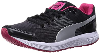 puma shoes pink and black. puma women\u0027s sequence wn s black-silver-virtual pink mesh running shoes - 4 and black 7