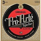D'Addario Pro-Arte EJ45-3D Cordes en nylon pour guitare classique Normale 3 jeux