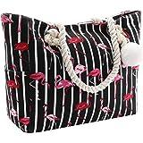 Damen Strandtasche Große mit Reißverschluss, XXL Familie Segeltuch Umhängetasche für Reisen, Strand, Schwimmbad
