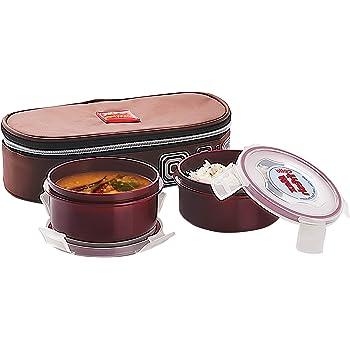 Cello Max Fresh Click Polypropylene Lunch Box Set, 300ml/23.8cm, Set of 2, Brown