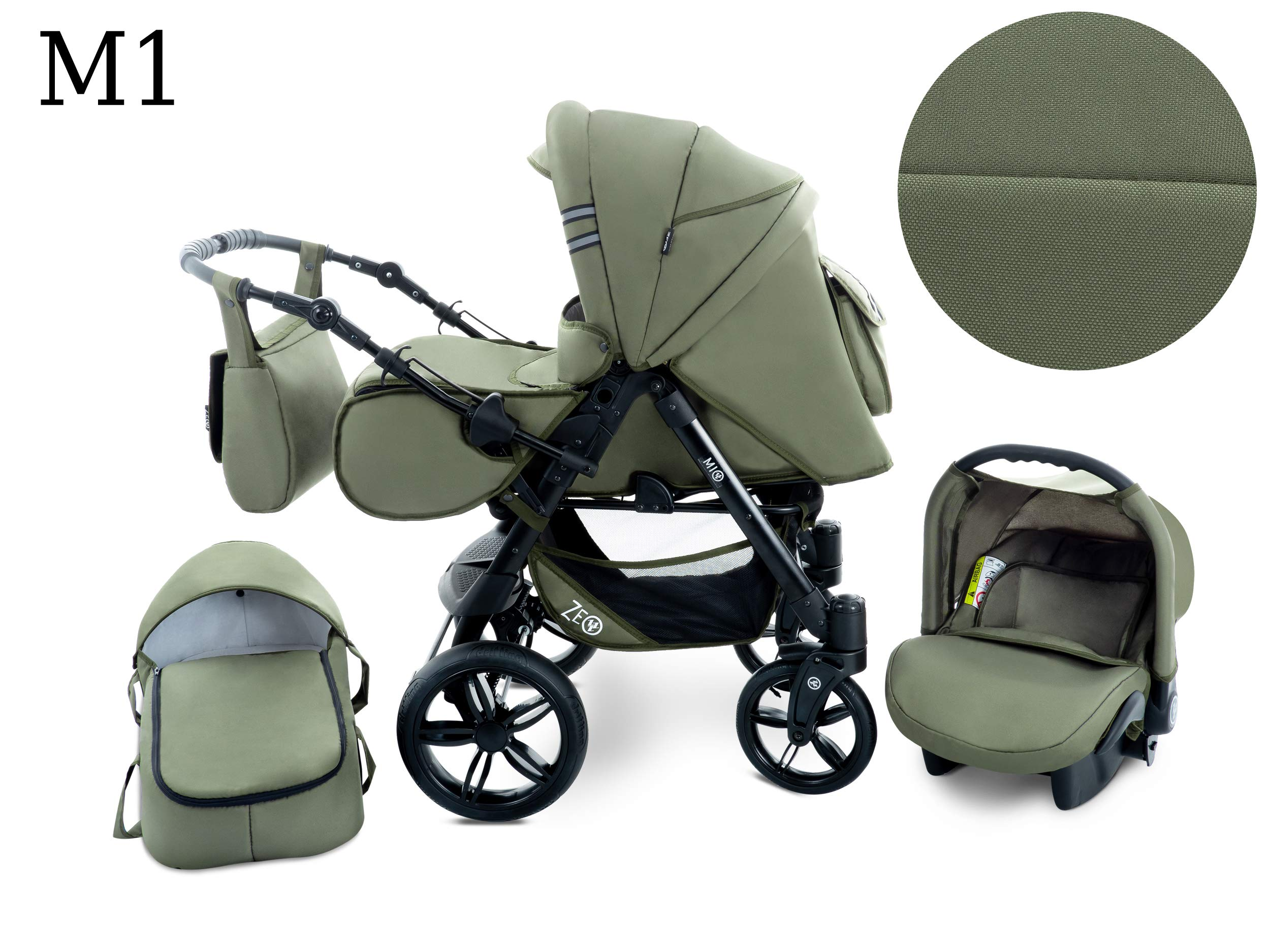 Baby Pram Zeo Mio 3in1 Set - All You Need! carrycot Gondola Buggy Sport Part Pushchair car seat (M1)  3 in 1 combination stroller complete set, with reversible handle to the buggy, child car seat or baby carriage Has 360 ° swiveling wheels, two-fold suspension, four-stage backrest, five-position adjustable footrest and a five-point safety belt The stroller can be easily converted into other functions and easy to transport 2