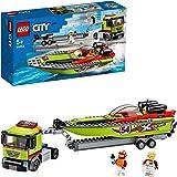 LEGO CityGreatVehicles TrasportatorediMotoscafi con Rimorchio e Motoscafo Sportivo, Giocattolo Galleggiante da Bagno per