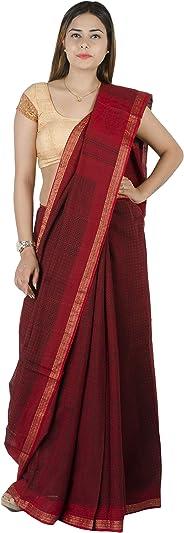 Tribes India Women's Silk Saree Maheswari Border Block Printed Saree With Blouse Piece(Multi coloured,6 Mtr.)