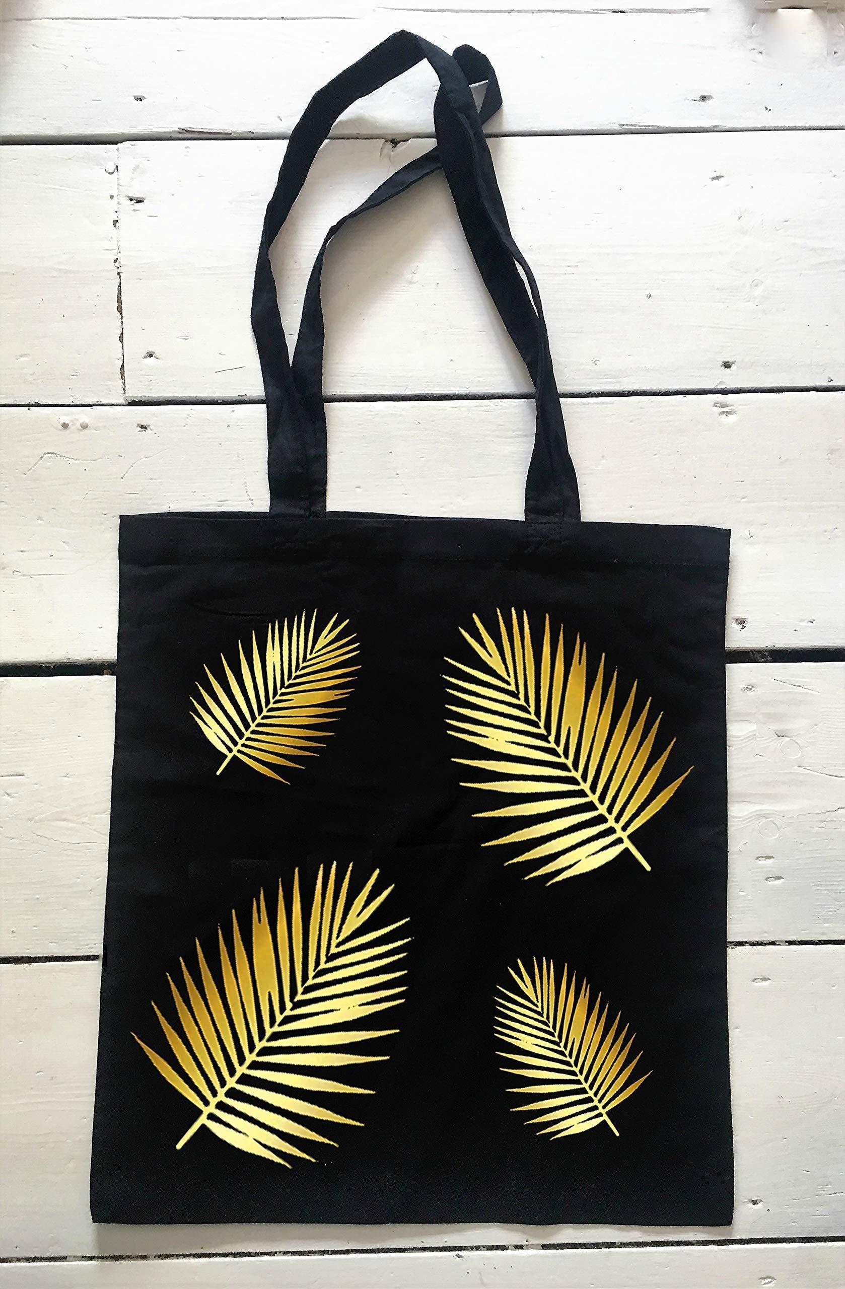 Tropical Leaf Tote Bag, Black Shoulder Bag, Gold Leaf Design Bag, Leaf Pattern - handmade-bags